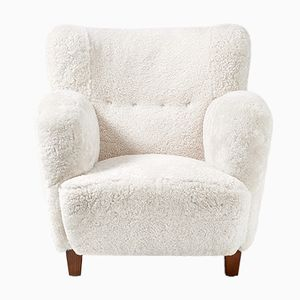 Danish Sheepskin Lounge Chair, 1930s
