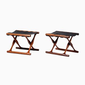 Guldhoj Rosewood Folding Stools by Poul Hundevad, 1948, Set of 2