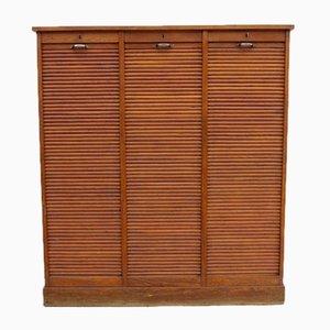 Industrial Oak Triple Tambour Front Cabinet, 1930s