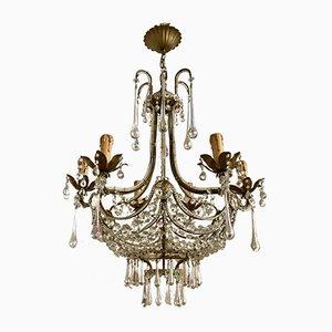 Lámpara de araña vintage con cuentas de cristal de Murano