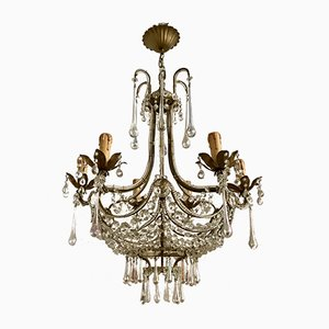 Vintage Crystal Beaded Murano Drop Chandelier