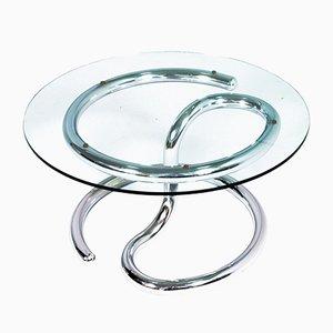 Cobra Couchtisch aus Stahl, Chrom & Glas von Giotto Stoppino, 1970er