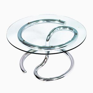Steel, Chrome & Glass Cobra Coffee Table by Giotto Stoppino, 1970s