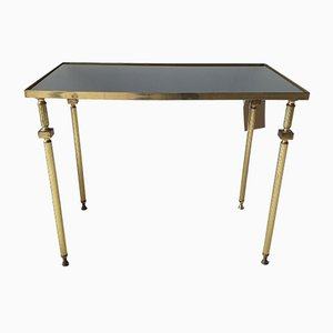Vintage French Brass & Mirrored Glass Side Table, 1950s