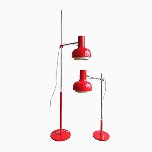 Lampadaire Vintage & Lampe de Bureau par Josef Hurka pour Napako, 1960s, Set de 2