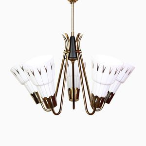 Mid-Century Swedish Brass & Opaline Glass Ceiling Lamp