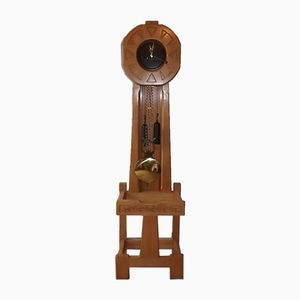 Vintage Oak Floor Clock by Guillerme et Chambron for Votre Maison