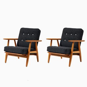 Vintage Oak GE-240 Cigar Chairs by Hans J. Wegner for Getama, 1950s, Set of 2