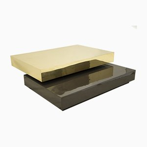 Brass & Lacquered Wood Coffee Table by Gabriella Crespi, 1970s