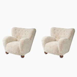 Sheepskin Lounge Chairs by Marta Blomstedt, 1930s, Set of 2
