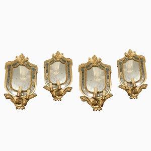 Marcos antiguos dorados con espejo, siglo XVIII. Juego de 4