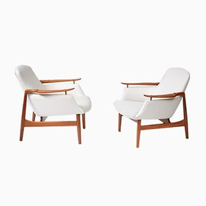 Teak NV-53 Lounge Chairs by Finn Juhl for Niels Vodder, 1953, Set of 2
