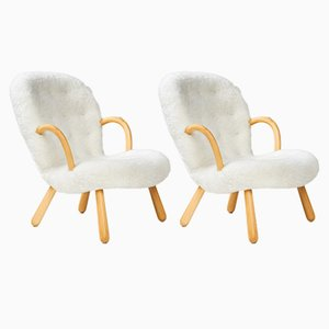 Sheepskin Clam Chairs by Philip Arctander for Vik & Blindheim, 1950s, Set of 2