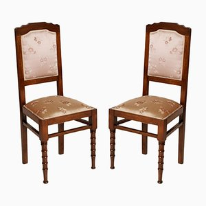 Italian Art Nouveau Silk Chairs, 1900s, Set of 2