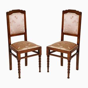 Italienische Jugendstil Stühle aus Seide & Nussholz, 1900er, 2er Set