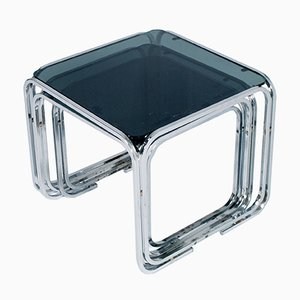 Glass & Chromed Tubular Steel Nesting Tables by Marcel Breuer, 1950s