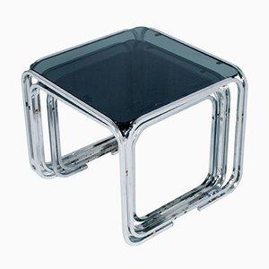 Mesas nido de vidrio y acero tubular cromado de Marcel Breuer, años 50