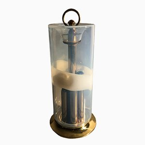 Zylindrische opaleszierende Tischlampe aus Muranoglase von Giusto Toso für Leucos, 1970er