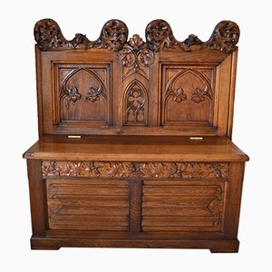 French Gothic Carved Oak Hall Bench, 1880s