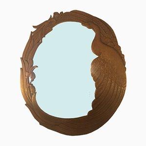 Espejo Mid-Century de madera tallada a mano
