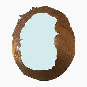 Mid-Century Hand Carved Wooden Mirror