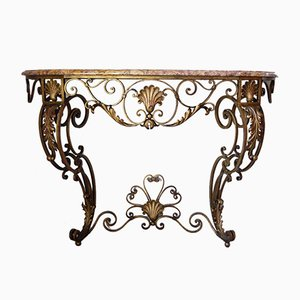 Antique Gilt Wrought Iron Wall-Mounting Console with Marble Top