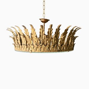 Lámpara de techo neoclásica grande dorada, años 40