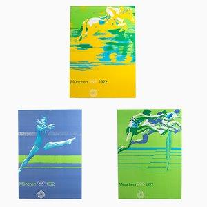 Pósters de los Juegos Olímpicos de Munich en cartón de Otl Aicher, 1972. Juego de 3
