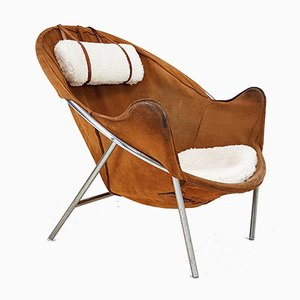Cognac Suede Lounge Chair by Erik Jørgensen for Olaf Black, 1953