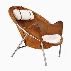 Cognacfarbener Sessel aus Wildleder von Erik Jørgensen für Olaf Black, 1953