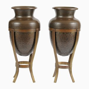 Antique Art Nouveau Brass Vases on Stands, 1900s, Set of 2