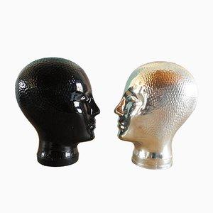 Cabezas de vidrio en negro y plateado de Atelier Fornasetti, años 60. Juego de 2
