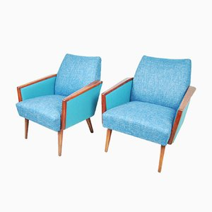 German Turquoise Lounge Chairs, 1960s, Set of 2