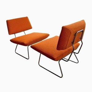 Italienische Lehnstühle aus orangener Wolle von Arflex, 1960er, 2er Set