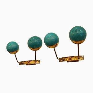 Applique in vetro di Murano blu turchese, anni '80, set di 2
