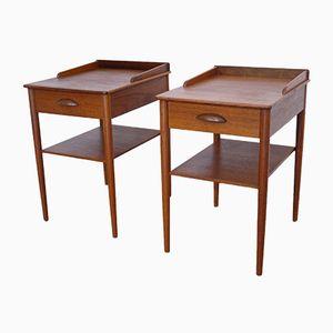 Tables de Chevet Scandinaves Vintage en Teck, 1960s, Set de 2