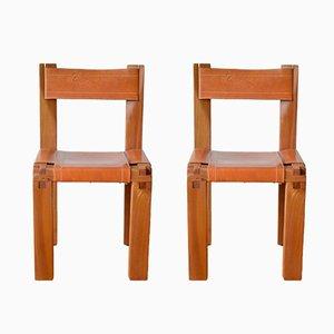 Französische S11 Stühle von Pierre Chapo, 1960er, 2er Set