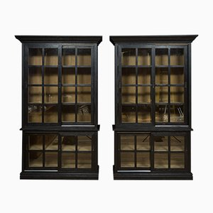 Ebonised Oak Cabinets, 1990s, Set of 2