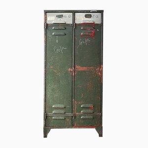 Industrieller belgischer Vintage Metallspind mit 2 Türen