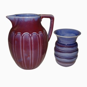 Vaso e brocca di Gustav Partz per Villeroy & Boch, anni '20