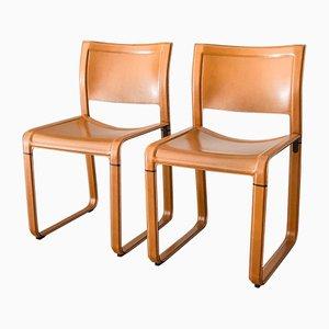 Esszimmerstühle mit brauner Lederverkleidung von Tito Agnoli für Matteo Grassi, 1980er, 2er Set