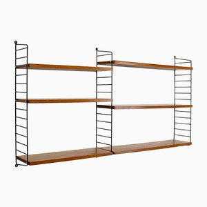 Vintage Teak Veneer Modular Shelving Unit by Katja & Nils Strinning for String