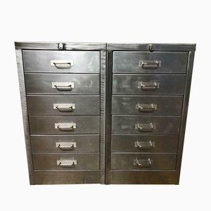 Vintage Industrial Metal Filing Cabinets with 6 Drawers, Set of 2