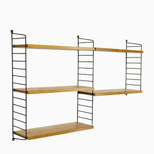 Vintage Modular Ash Wood Veneer Shelving Unit by Katja & Nils Strinning for String