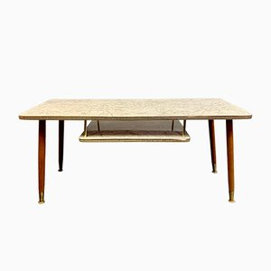 Vintage Marble Effect Formica Coffee Table With Shelf, 1950s