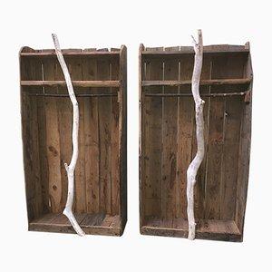 Mobili da ingresso vintage in legno di Virginie Ecorce, anni '80, set di 2