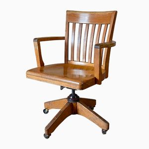 Vintage American Oak Captain's Swivel and Tilt Desk Chair