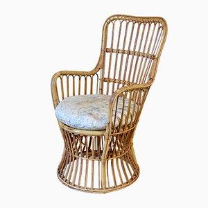 Chaise de Baignoire Vintage en Jonc, en Osier & en Rotin avec Coussin