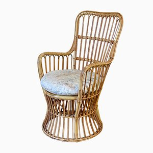 Vintage Cane, Wicker & Rattan Tub Chair with Cushion