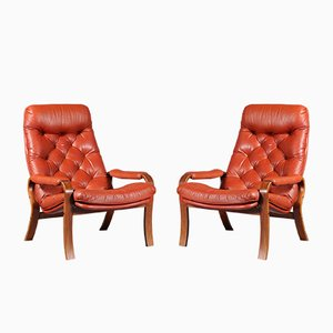 Scandinavian Leather Lounge Chairs, 1970s, Set of 2